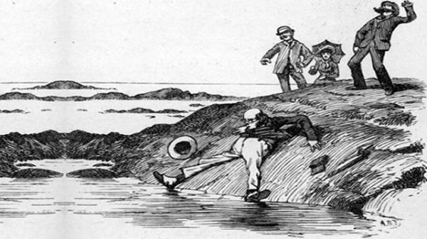 Comic drawing of a man who has fallen into a rock pool