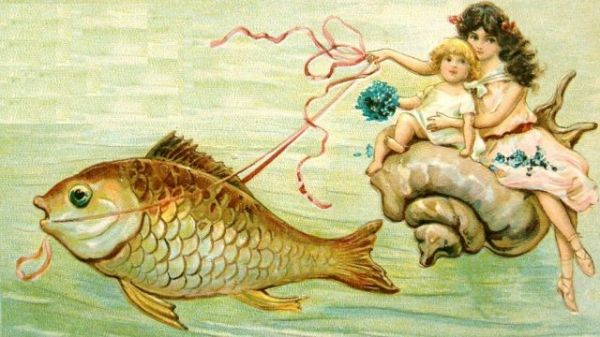 Strange sea-child riding a conch being pulled by a fish