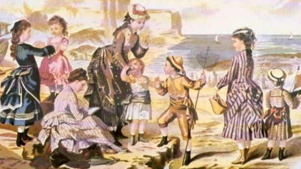 Victorian image of children at the sea with adults