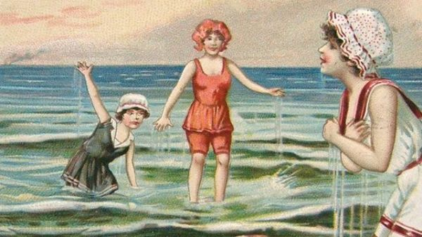 Antique image of children paddling