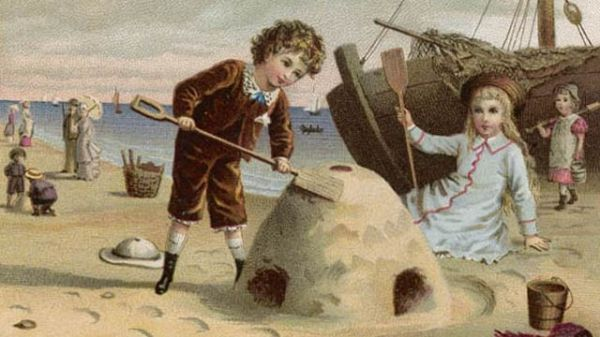 Victorian image of children making sand castles with wooden buckets and spades