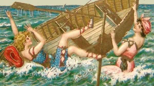 Victorian image of ladies falling out of a boat