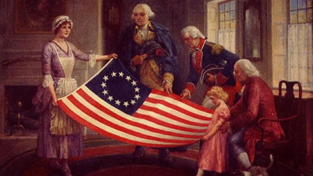 Betsy Ross Shows The Stars And Stripes