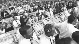 Mission Control Watches Apollo 11 Launch