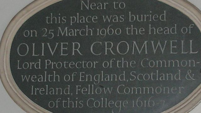 Plaque Commerating The Burial Of Oliver Cromwell's Head