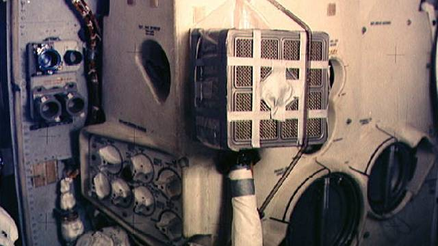 Interior Of Apollo 13 Showing The Improvised Carbon Dioxide Scrubber