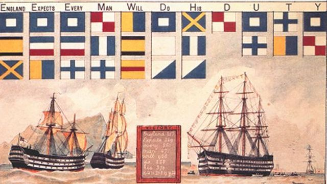 Flags Spelling Out 'England Expects That Every Man Will Do His Duty'