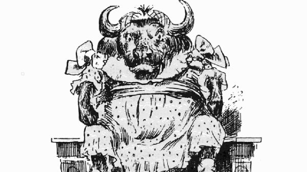 A buffalo sitting on a chimney-piece