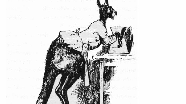 A Kangaroo working a coffee-mill