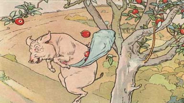 Pig In Apple Tree Throwing Apples Illustrated By L. Leslie Brooke