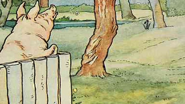 Pig Looking Over His Garden Fence Illustrated By L. Leslie Brooke
