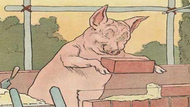 Pig Making Brick House Illustrated By L. Leslie Brooke
