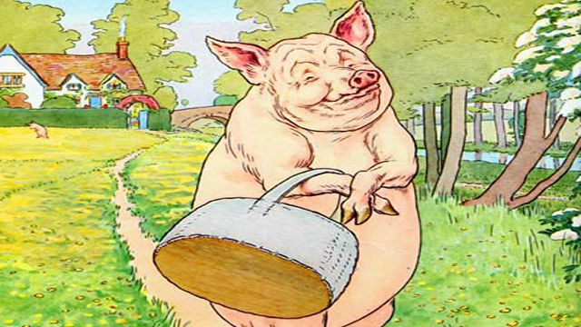 Pig With A Shopping Bag Illustrated By L. Leslie Brooke