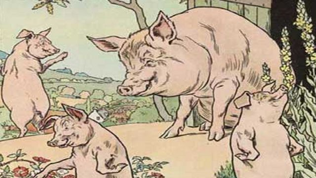 Pigs Saying Goodbye To Their Mother Illustrated By L. Leslie Brooke