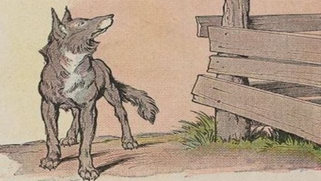 Wolf Looking Up Illustrated By L. Leslie Brooke
